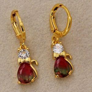 18kt Gold Rainbow Tourmaline Kitty Cat Earrings